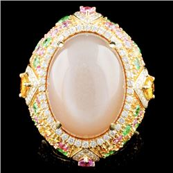 18K Gold 22.30ct Moonstone & 0.79ctw Diamond Ring