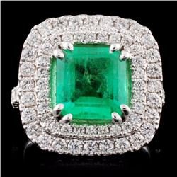 14K White Gold 2.50ct Emerald & 1.26ct Diamond Rin
