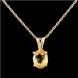14K Gold 1.30ct Citrine Pendant