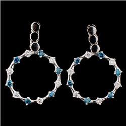 18K White Gold 1.10ctw Diamond Earrings