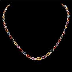 `14k Gold 31ct Sapphire 1.4ct Diamond Necklace