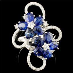18K Gold 4.90ct Sapphire & 0.68ctw Diamond Ring