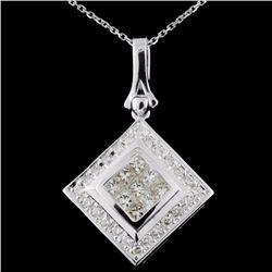 18K White Gold 1.03ctw  Fancy Diamond Pendant