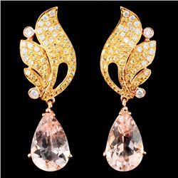 18K Gold 5.31ct Morganite & 0.38ctw Diamond Earrin