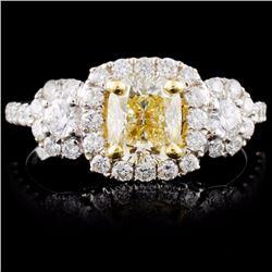 18K White Gold 1.66ctw Fancy Color Diamond Ring