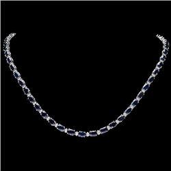 `14k Gold 26.50ct Sapphire 1ct Diamond Necklace