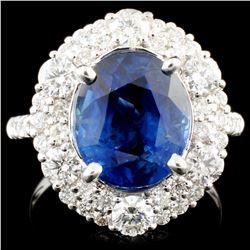 18K Gold 5.60ct Sapphire & 1.44ctw Diamond Ring