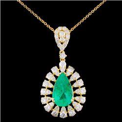 18K Gold 2.06ct Emerald & 1.41ctw Diamond Pendant