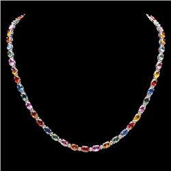 `14k Gold 27ct Sapphire 1.20ct Diamond Necklace