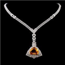 18K Gold 11.46ct Sapphire & 5.27ct Diamond Necklac