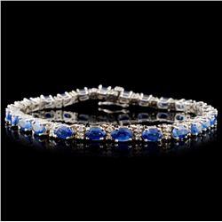 14K White Gold 9.87ct Sapphire & 0.92ct Diamond Br
