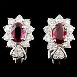 18K Gold 1.62ctw Ruby & 1.02ctw Diamond Earrings