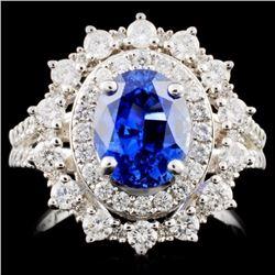 14K White Gold 2.78ct Sapphire & 1.03ct Diamond Ri