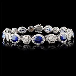 18K White Gold 9.13ct Sapphire & 3.16ct Diamond Br