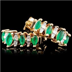 14K Gold 0.46ct Emerald & 0.22ct Diamond Earrings