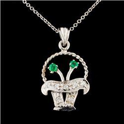 14K Gold 0.17ctw Emerald & 0.13ctw Diamond Pendant