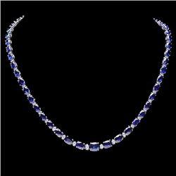 `14k Gold 30ct Sapphire 1.10ct Diamond Necklace