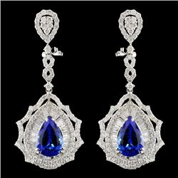 18K Gold 6.76ctw Tanzanite & 3.89ctw Diamond Earri