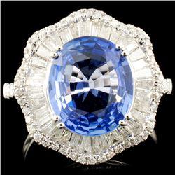 18K Gold 3.81ct Sapphire & 1.18ctw Diamond Ring