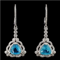 14K White Gold 2.87ct Apatite & 0.69ct Diamond Ear