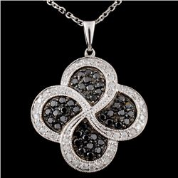 14K White Gold 0.80ctw Fancy Diamond Pendant