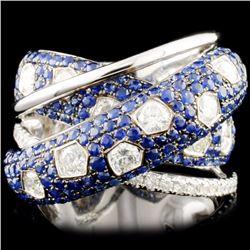 18K Gold 2.36ct Sapphire & 1.59ctw  Diamond Ring