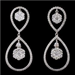 14K White Gold 2.14ctw Diamond Earrings