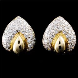 14K TT Gold 1.58ctw Diamond Earrings
