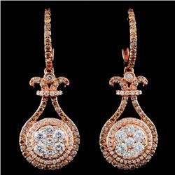 14K Gold 1.81ctw Fancy Diamond Earrings