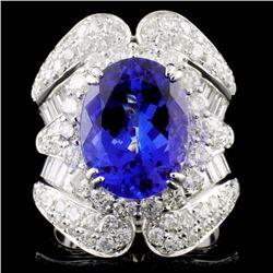 18K W Gold 6.20ct Tanzanite & 3.43ctw Diamond Ring