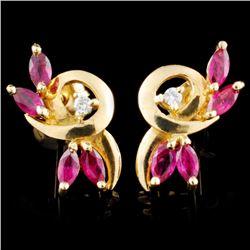 14K Gold 1.06ctw Ruby & 0.05ctw Diamond Earrings