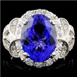 18K W Gold 6.17ct Tanzanite & 1.32ct Diamond Ring