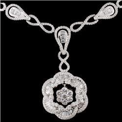 14K White Gold 3.70ctw Diamond Necklace