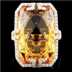 14K Gold 19.71ct Citrine & 0.66ctw Diamond Ring
