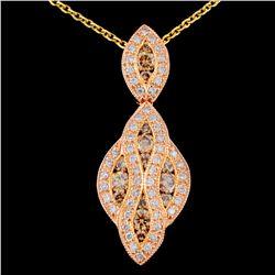 14K Gold 1.28ctw Fancy Diamond Pendant