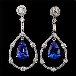 18K Gold 6.53ct Sapphire & 1.79ct Diamond Earrings