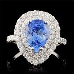 18K Gold 2.81ct Sapphire & 1.09ctw Diamond Ring