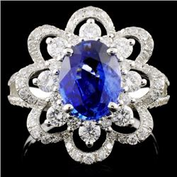 18K W Gold 2.00ct Sapphire & 0.98ct Diamond Ring