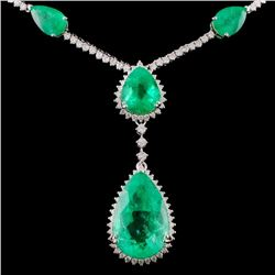 18K White Gold 25.31ct Emerald & 3.78ctw Diamond N