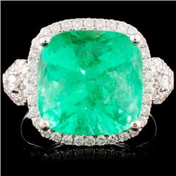18K Gold 6.76ct Emerald & 0.65ctw Diamond Ring