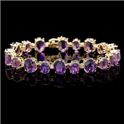 `14k Gold 37ct Amethyst .80ct Diamond Bracelet