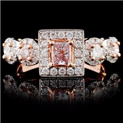 18K Rose Gold 0.95ctw Fancy Color Diamond Ring