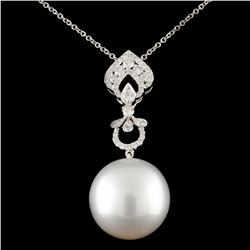 18K Gold 15.00mm Pearl & 0.42ctw Diamond Pendant