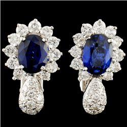 18K Gold 4.00ctw Sapphire & 1.50ctw Diamond Earrin