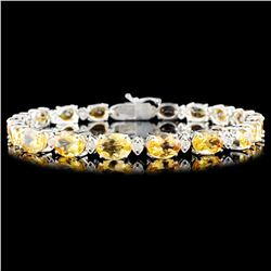 14K Gold 20.05ct Topaz 0.56ctw Diamond Bracelet