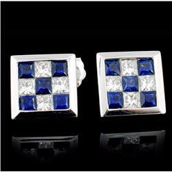 18K Gold 0.60ct Sapphire & 0.40ct Diamond Earrings