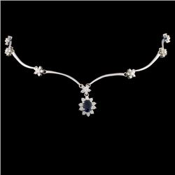 14K Gold 2.43ct Sapphire & 2.57ct Diamond Necklace