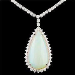 18K Gold 13.75ct Opal & 3.84ctw Diamond Necklace