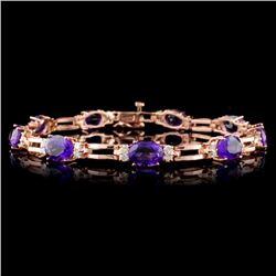 14K Gold 9.60ct Amethyst & 1.08ct Diamond Bracelet