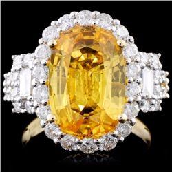 18K Gold  5.74ct Sapphire & 1.38ct Diamond Ring